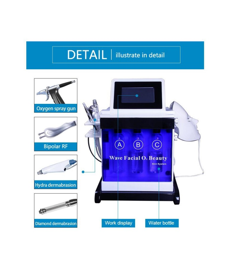 5 In 1 Multi Function Diamond Dermabrasion RF Handles Oxygen Spray Mist Gun Facial Beauty System
